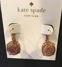 AUTHENTIC NEW KATE SPADE ROUND ROSEGOLD GLITTER LEVERBACK DROP EARRINGS-ON SALE!