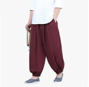 Loose Buddhist monk pants Shaolin Kungfu Taichi Wing Chun pants blended