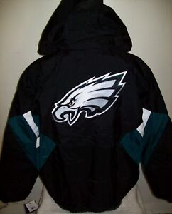 PHILADELPHIA EAGLES Starter Hooded Half Zip Pullover Jacket LARGE BLACK & GREEN