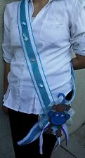 1 Baby Shower MOM TO BE Sash Monkey, Blue, Ribbon favors, Handmade Party,Mommy