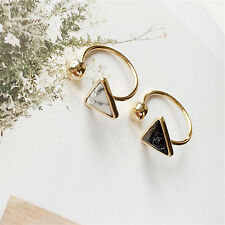 Marble Texture Triangle Minimalist Joint Alloy Ring Opening Adjustable Ring