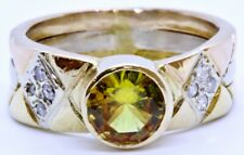 18K Solid Tri-Color Gold Oval Citrine & Diamond Thick Band Custom Ring Size 5.25