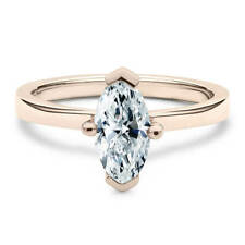 Cut Moissanite Classic Solitaire Engagement Ring 14K Rose Gold 1 Carat Marquise