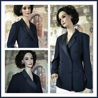 CORBIN COLLECTION women's blazer DARK BLUE tuxedo DBL BREASTED sz 6 to 8
