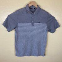 Travis Mathew Polo Golf Shirt Mens Small Gray Striped Short Sleeve Pima Cotton