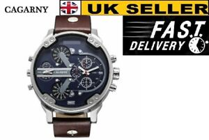 Cagarny Men's Quartz Watch  Date Dual Time Analog Leather Strap