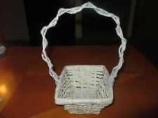 """White Rectagular Wicker Basket with 9"""" Handle Cute!"""