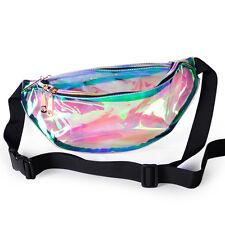 Retro Punk Lady Girl Rainbow Transparent Hologram Waist Bag Purse Fanny Pack Bum
