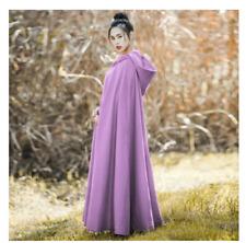 Ladies Cloak Vintage Full Length Outwear Coats Shawl Cape Hooded Wool Blend