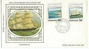 250th Anniversary of Lloyds List 2 Values First Day Cover Benham Silk 1984
