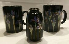 2 Otagiri Blue Iris Flowers Mug Coffee Tea Cup with matching vase Made In Japan
