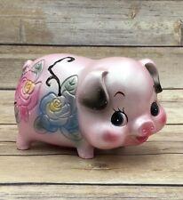 Vintage Retired Japan Ceramic Pink Floral Piggy Bank Gloss Painted Stopper