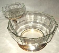 VINTAGE MADE IN ITALY CLEAR SILVER CHIP AND DIP SERVING SET  60's &70's 10 SIDED