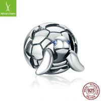 Delicate Design 925 Sterling Silver Reborn Turtle Tortoise & Clear CZ charm bead