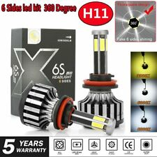 6 Sides H11 H8 H9 LED Headlight Bulbs Fog Lights 12000LM 6000K Car LED Lights 2x
