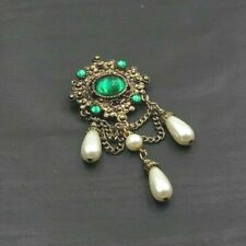 Bronze Toned Green Rhinestone Chatelaine Style Brooch Faux Pearls b5