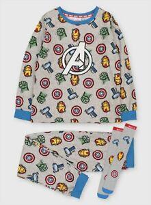 Brand New Tu Kids Marvel Avengers Grey Printed Pyjamas  & Socks Size 8-9 years