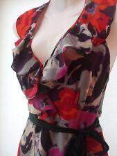 MONSOON FLORAL RED SILK AVALON DRESS SIZE 14 (PETITE)