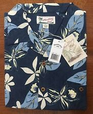 $78 Monterey Club Island Collection 100% Silk Golf Casual Shirt Navy Floral Sz L