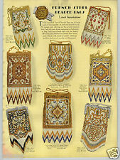 1930 PAPER AD 2 Sided Steel Bead COLOR Hand Bag Purse Hand Made In France