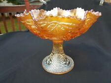 Fenton Carnival Glass Marigold Mikado Ruffled Compote