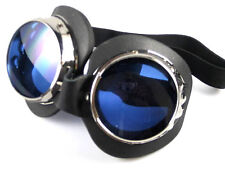 Burning Man metal goggles goggle set pair blue & tinted lenses UV400 Cosplay