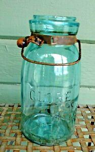 Antique 1886 Globe Aqua Blue Canning Jar Size 7