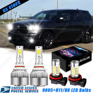 For DODGE Durango 2016-2019 -4PC Combo LED Headlights Fog Light Bulbs Kit 6000K