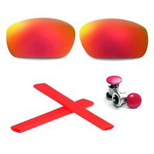 Walleva Polarized Fire Red Lenses And Rubber Kit And Bolts For Oakley Jawbone