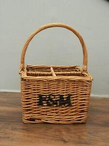 fortnum and mason wicker wine / bottle basket