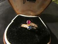 Beautiful Victorian Quality 18ct Gold, Diamond Ruby & Sapphire Ring,Chester1890