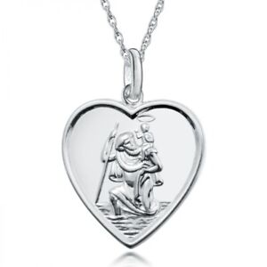 St. Christopher Pendant & Chain Sterling Silver 16mm Heart, personalised