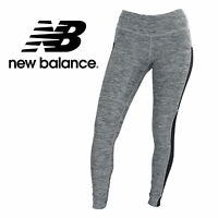 New Balance Womens Yoga Leggings in Light Heather Gray & Black Pockets, XS-Large