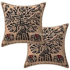 "Antique Tree Of Life Cushion Cover Kantha Printed Pillow Case 16"" Throw"
