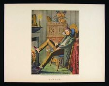 Currier and Ives Print - Single - Bachelor Smoking Long Pipe - Fireplace - Litho