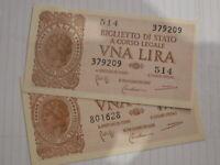 banconota da 1 lira 1944 da mazzetta FDS fior di stampa