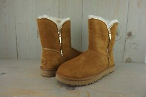 UGG FLORENCE CHESTNUT  SUEDE GOLD   ZIPPER TRIM WOMENS BOOTS US 11 NIB