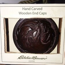 NEW Eddie Bauer Hand Carved Wooden End Caps-SET OF 2 Dark Brown Drapery Hardware