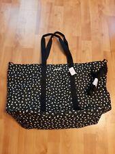 NWT Victoria Secret PINK Black Floral Zip Tote Weekender Carry On Travel Bag