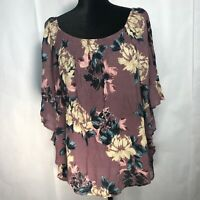 1X Purple multicolor Peasant Top Floral Boho Ruffles Blouse bell sleeve women's