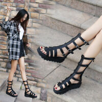 Womens Strappy Buckles Roman Platform Heels Mid Calf Boot Sandals High Top Shoes