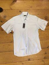 Peter Werth Striped Short Sleeve Shirt/Sky Blue - Medium/3 (Old Logo)