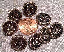 """8 Shiny Silver Tone Metal Shank Buttons Hollow Fleur De Lis 5/8"""" 15.5mm # 7472"""