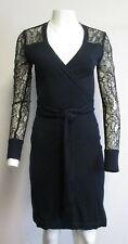 DIANE VON FURSTENBERG 100% wool navy & black knit & lace wrap dress sz M