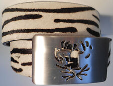 TIGER OF SWEDEN NEW BELT HAIR ON COWHIDE Ni-BRASS BUCKLE FITS US JEAN SIZE 32-33