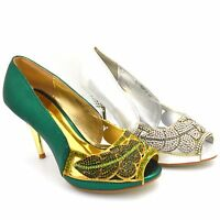 WOMENS LADIES DIAMANTE HIGH HEEL PROM SHOES WEDDING BRIDAL EVENING PARTY Y687-7
