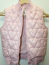 Old Nave Pink Kid Girl Outerwear Puffer Vest Large Lined Detachable Hoodie Heart