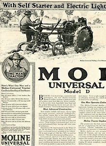 1918 Vintage Orig MOLINE Universal Model D TRACTOR Ad 4-Pages. One Man Tractor