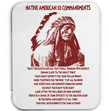 NATIVE AMERICAN INDIAN 10 COMMANDMENTS - MOUSE MAT/PAD AMAZING DESIGN