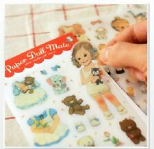 KOREA Newly Afrocat Paper Doll Mate PVC Sticker 6 Sheets NEW